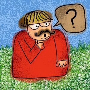 cartoon van mannetje met vraagteken spreekwolk